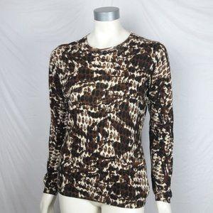 CAbi #741 Cotton/Cashmere Animal Print Sweater MED
